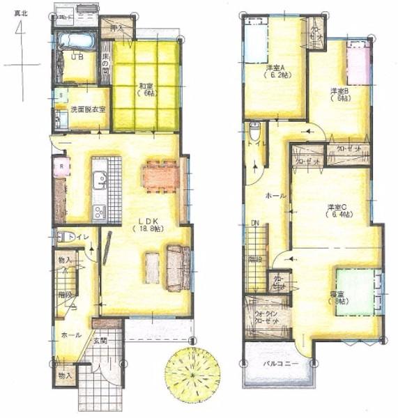 広々とした寝室は2つに区切れるよう、将来の家族構成を考えた家0