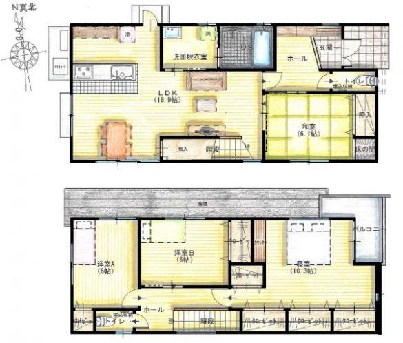 和室の前から繋がるリビング階段が日常使いに便利な家0
