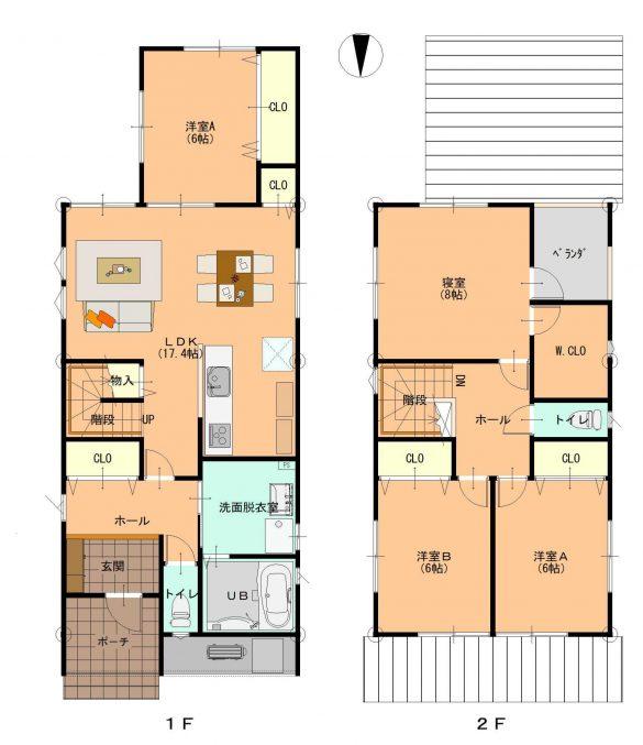 越前市の閑静な住宅街に立つリビング階段の家0
